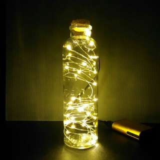 Warm White Fairy Lights in Clear Glass Bottle (USB-powered)