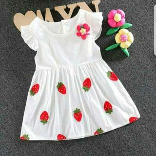 SALES IN STOCK Summer Embroided Strawberry Baby Girls Dress