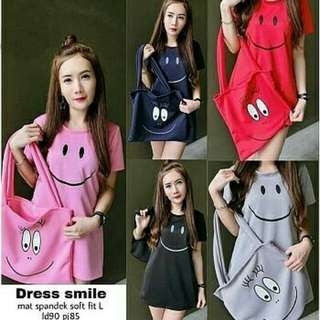 A43- Dress Smile  Bahan spandek soft fit L