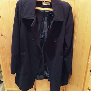清貨🔥深藍中長大褸navy woolen coat