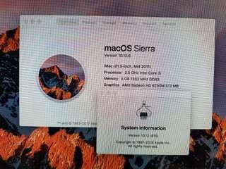 Apple MAC OS Sierra 21.5 inch mid2011
