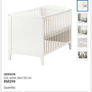 ikea baby cot hensvik +mattress