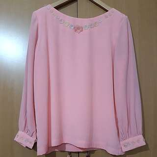 Vintage Surene Collection Pink Blouse with Flowers