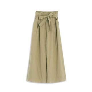 🚚 Queen shop素色荷葉綁帶寬褲