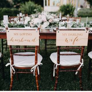 Wedding Deco - Husband & Wife Chair Signs