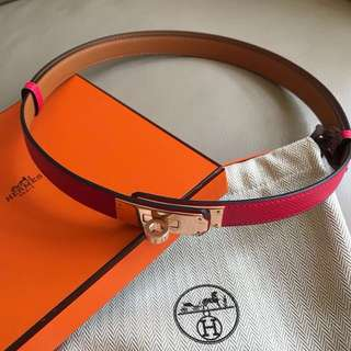 Hermes i6 Rose Extreme Kelly belt玫瑰金釦 epsom皮
