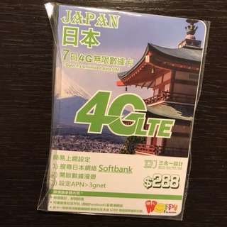 7 days unlimited Japan 4G LTE Data SIM card