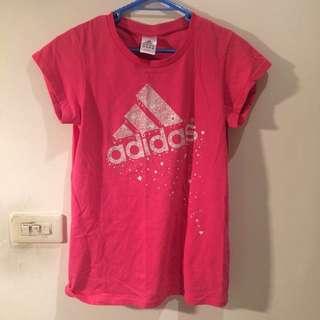 🚚 Adidas女生桃紅色短袖長版T恤