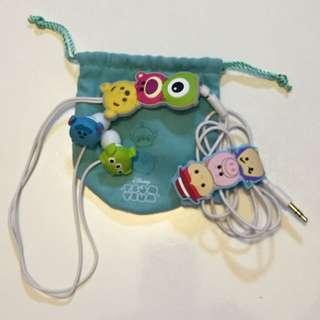 Tsum Tsum earphones with clip & bag