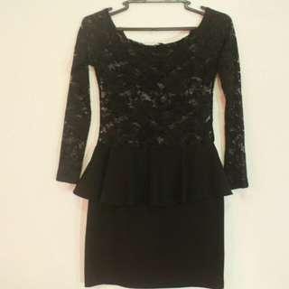 Black Lace See Through Peplum Dress
