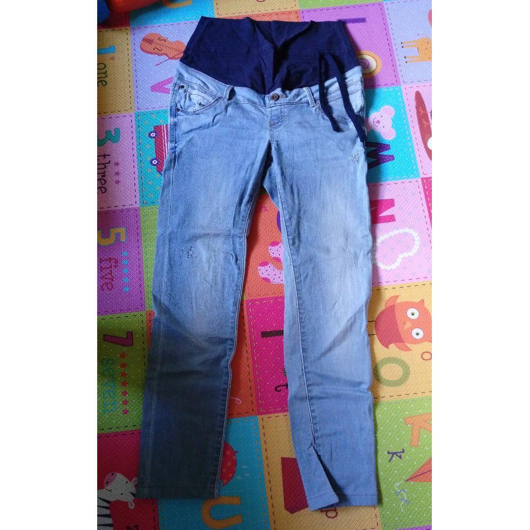 9成新「mamaway」牛仔直筒孕婦褲 Size:S