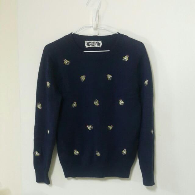 小熊刺繡深藍毛衣