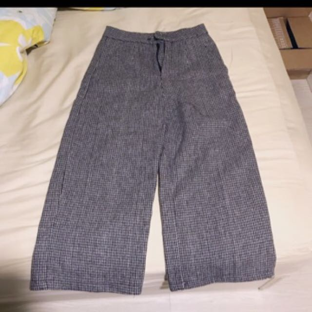 細格紋毛料寬褲