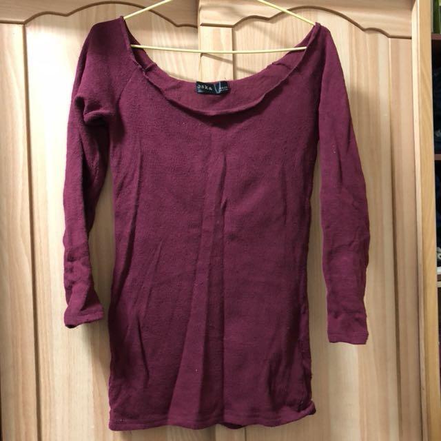 小資女孩👧正韓酒紅色鋪棉彈性上衣