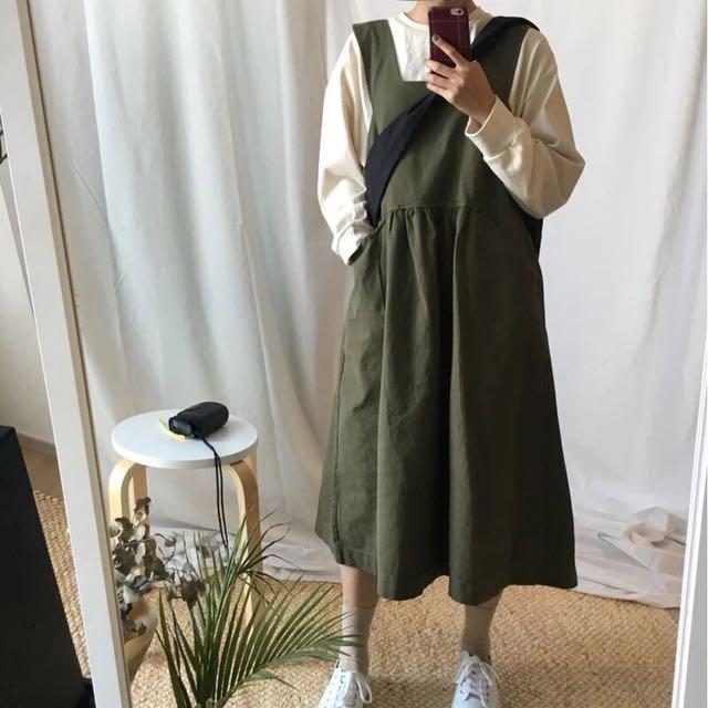 軍綠麻棉背心裙 背心裙
