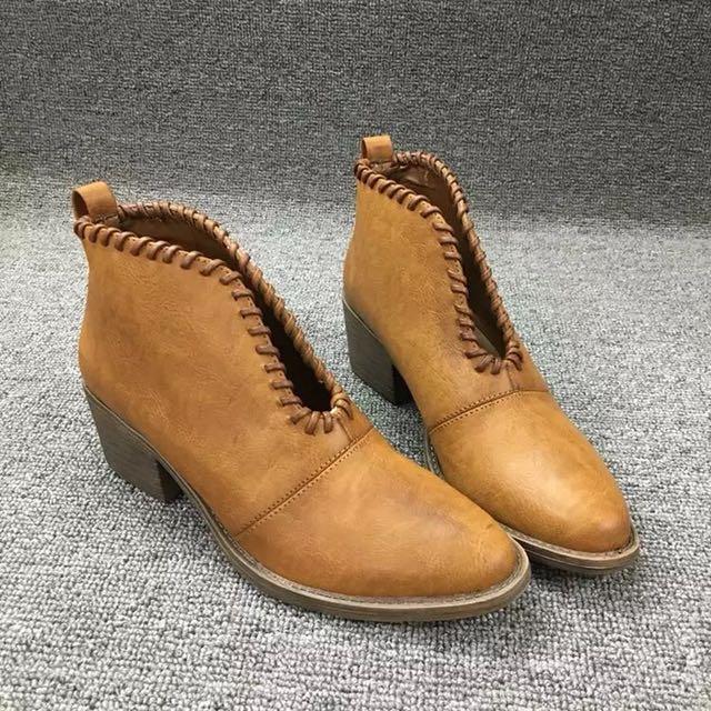箭頭編織靴 短靴 裸靴