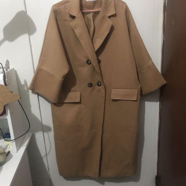 大衣外套 杏色 卡其色