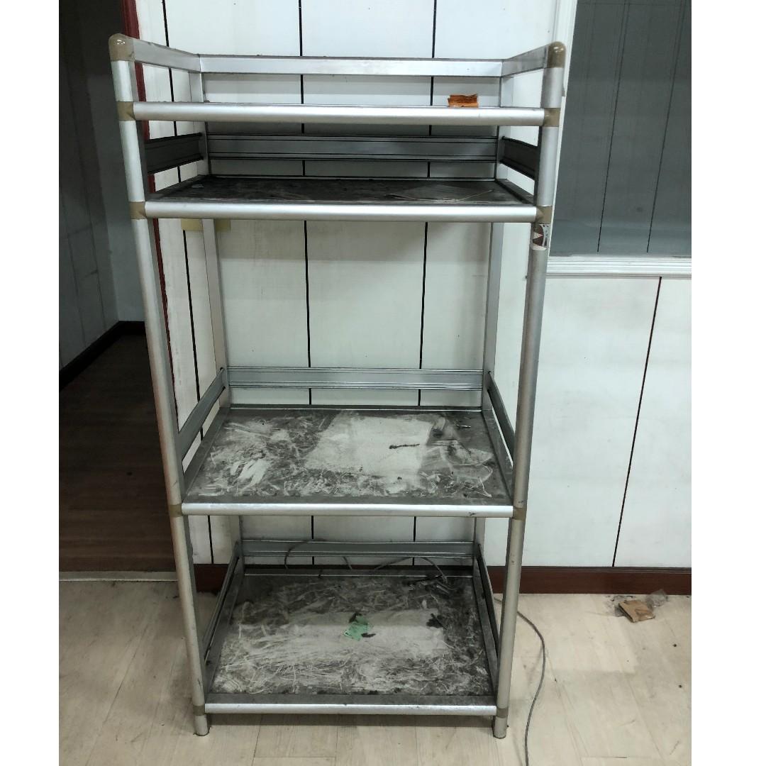 《蘆洲出清代售》 四層鋁製收納架 設備架 置物架  電器架 餐具架 製物櫃  蘆洲自取