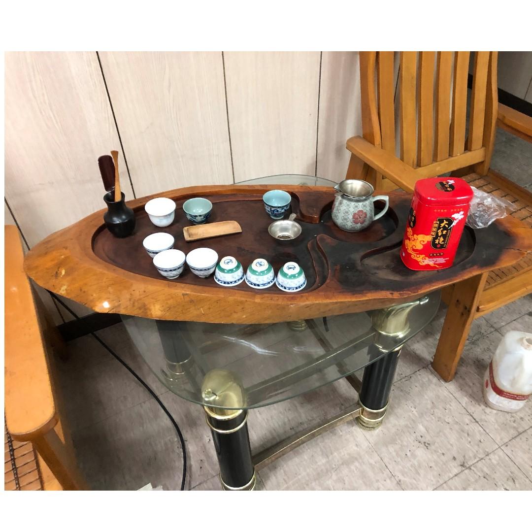 《搬家出清》梨花木 花梨木 泡茶 茶盤 木頭茶具 原木茶盤  有排水孔 送簡單茶具一組 品相如圖 自取喜歡滿意在帶走 來看不用錢 蘆洲 誠價可談