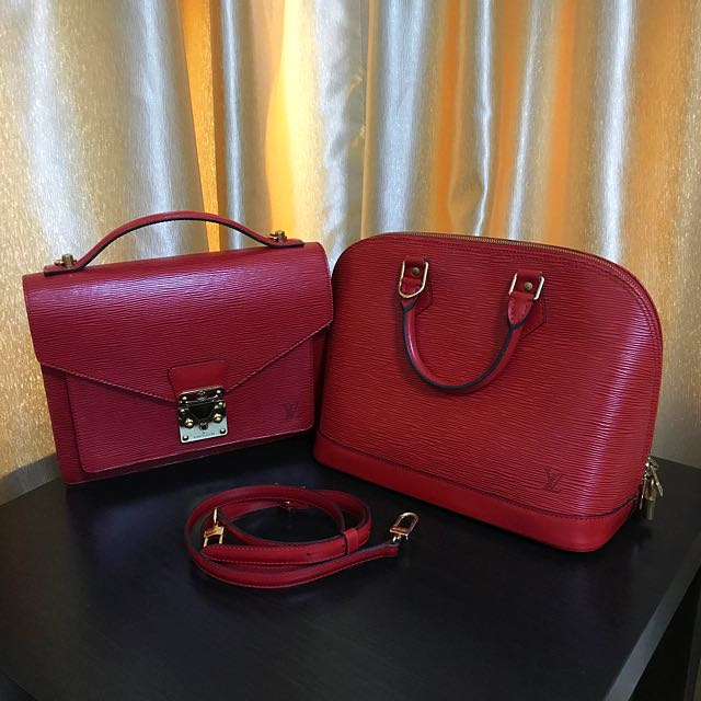 💝 Showcase Only 💝 Louis Vuitton Red Epi Monceau & Alma
