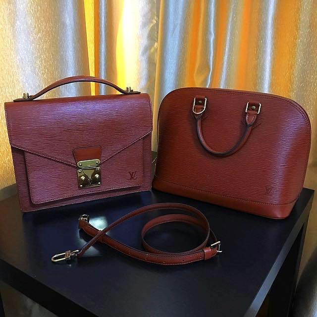 💝 Showcase Only 💝Louis Vuitton Brown Epi Monceau & Alma