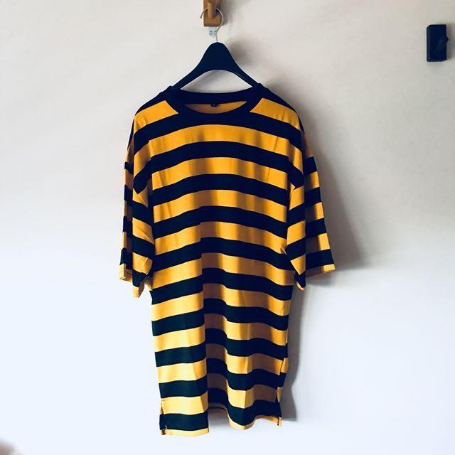 全新品 黑黃條紋短tee 寬鬆版型XL 台灣製