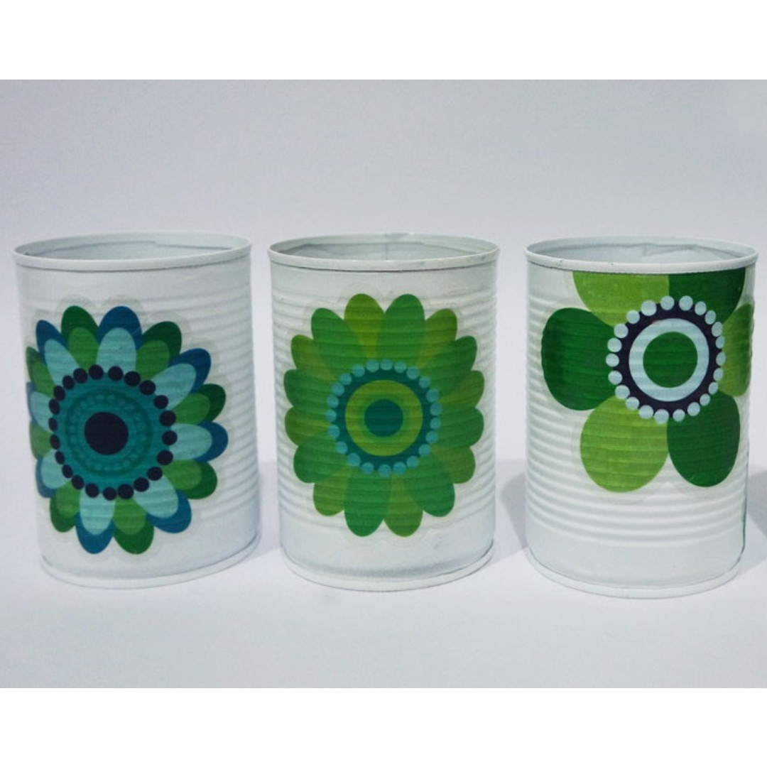 Aluminium Can Set of 4 with Floral Stickers