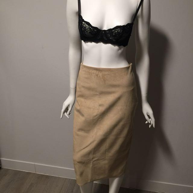 Aritzia Babaton Suede Midi Skirt