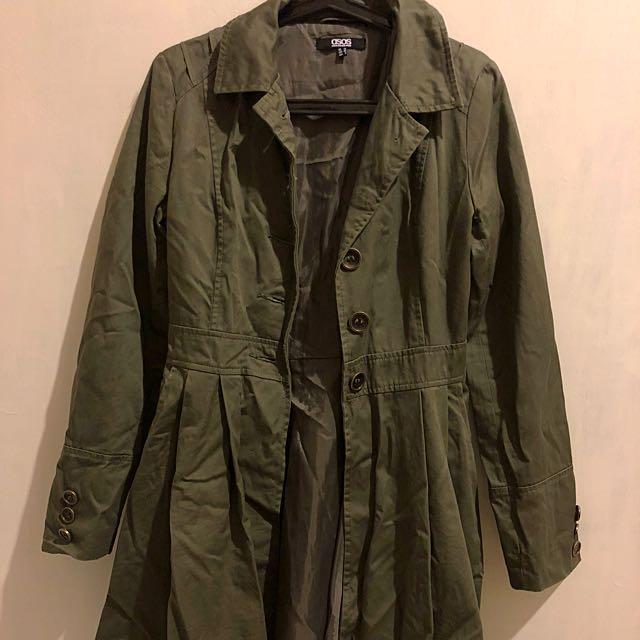 ASOS khaki trenchcoat w/ amazing back detailing sz UK10