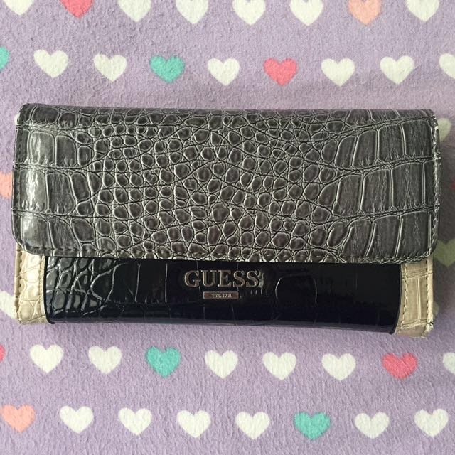 Authentic Guess Black Grey Colour Block Wallet