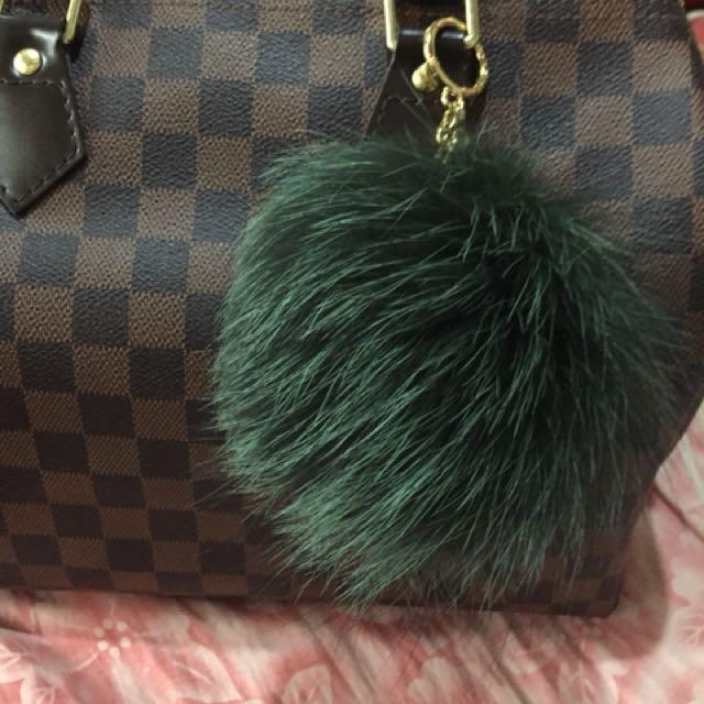 Authentic Michael Kors Pom Pom Fur Charm in Dark Green