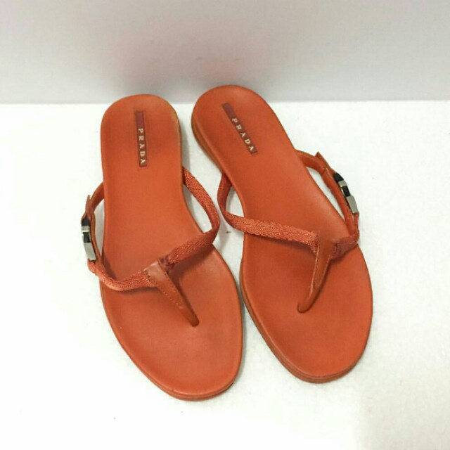 Authentic Prada Flip Flop Orange Sandals