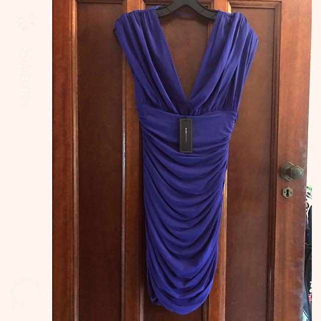 BCBG Maxazria rouched dress - dark purple size S (brand new with tag)