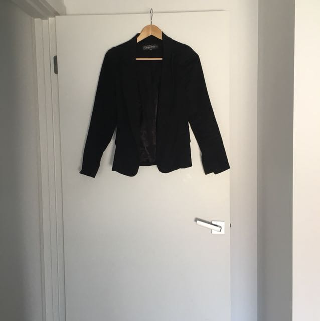 Black cotton drill blazer jacket