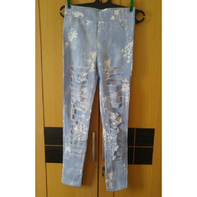 Blue white Ripped Jegging