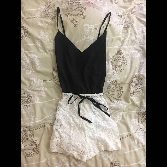 BNWT black and white playsuit jumpsuit lace