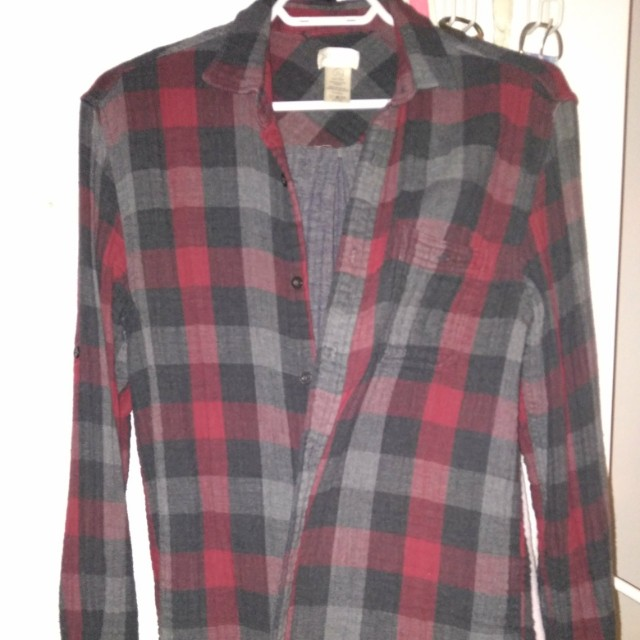 Button up plaid collar shirt