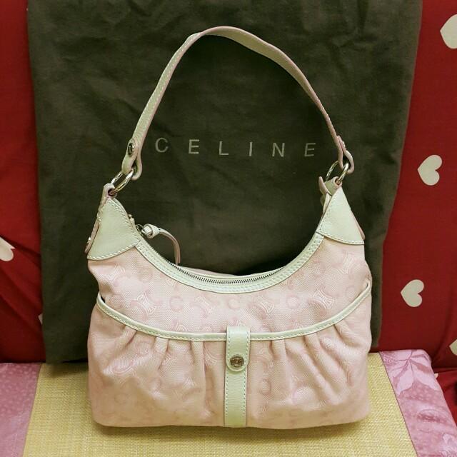 CELINE 二手真品 粉色 緹花布 丹寧布 手提包 肩背包 100%真品 粉紅色 單寧布 帆布