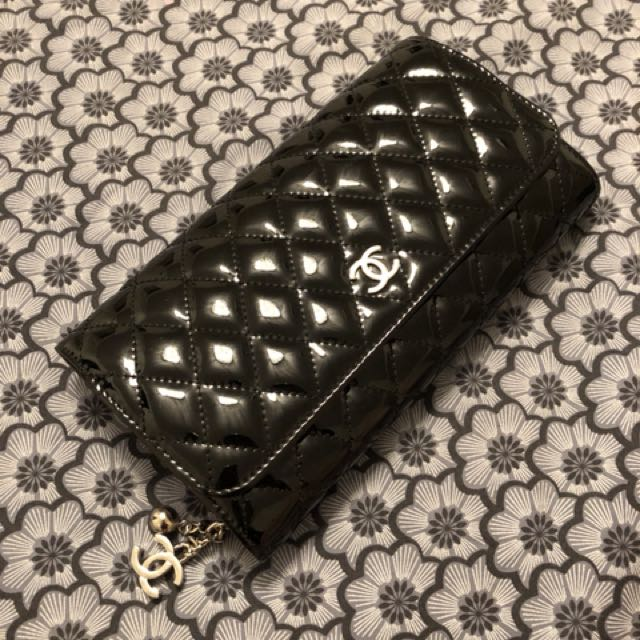 Chanel black patent clutch