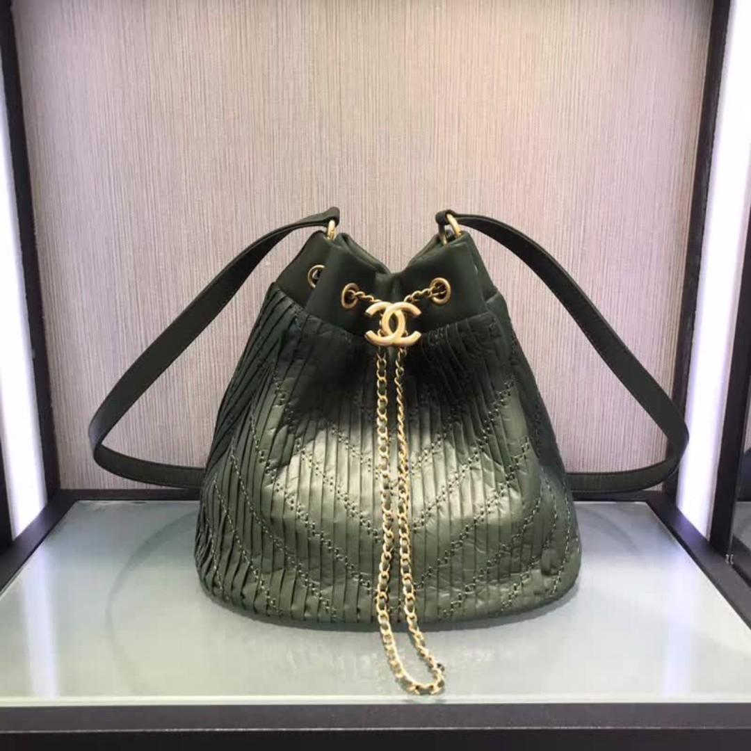 Chanel Coco Pleats Drawstring Bag c9ac00f91376c