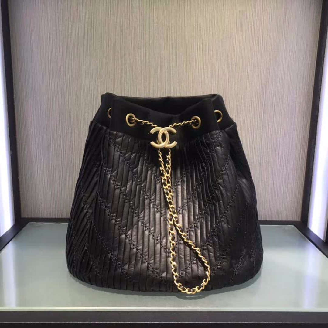b81cb7df2749c Chanel Coco Pleats Drawstring Bag