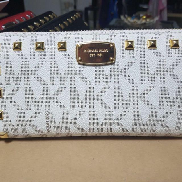 68048b0f4fdca9 CNY Sale! MK Studded Long Wallet Monogram White, Women's Fashion ...