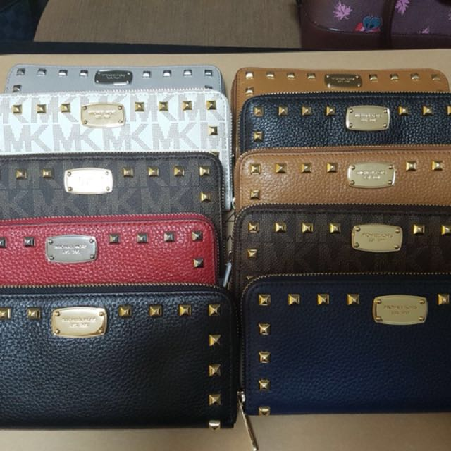 c90bbeeee0e092 CNY Sale! MK Studded Long Wallet Monogram White, Women's Fashion, Bags &  Wallets on Carousell
