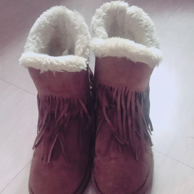 DOOK保暖流蘇內刷毛雪靴 深棕色37號