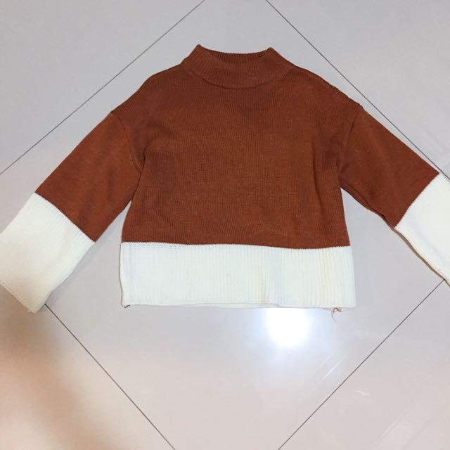 韓國粗針織撞色時尚上衣/F size