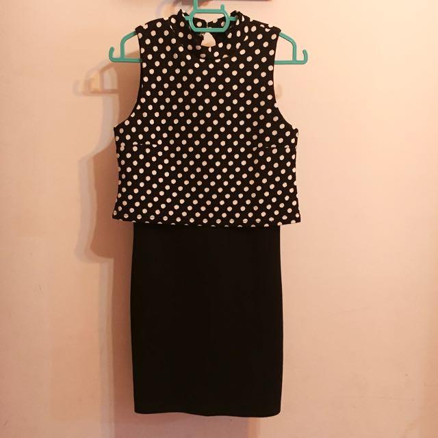 FACTORIES Overlay Dress Bodycon Black Polka Dots