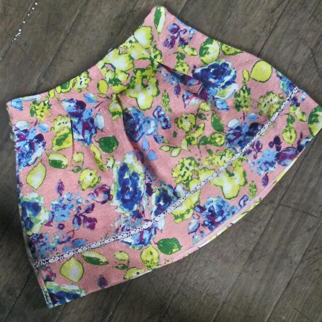 Floral Pink Skirt Shorts