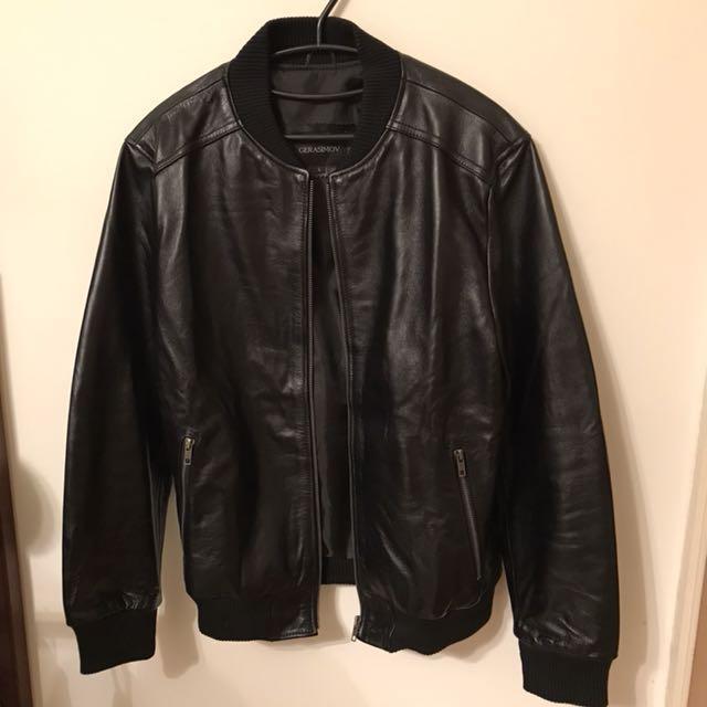 GERASIMOV 全皮 黑色 飛行員外套 夾克 超保暖 男款 L號