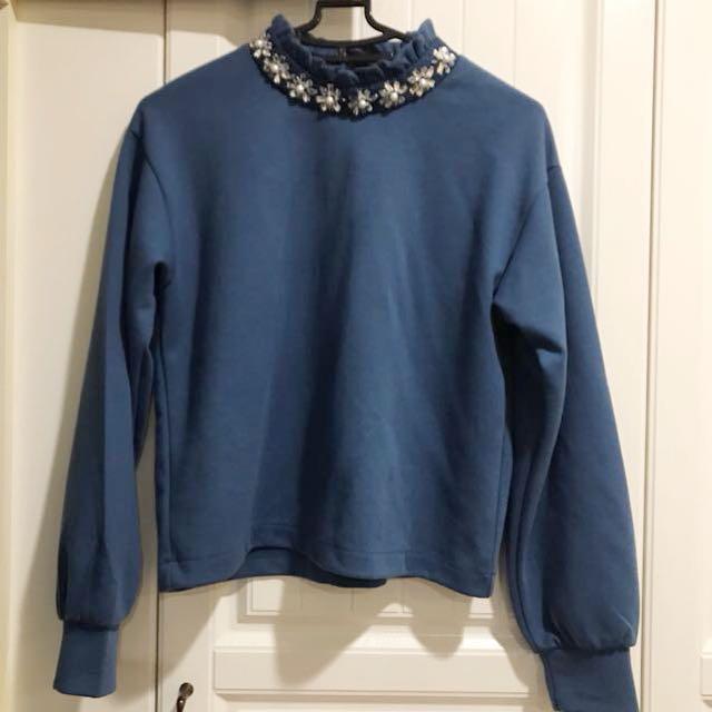 (全新)GU優雅鑽珠裝飾上衣