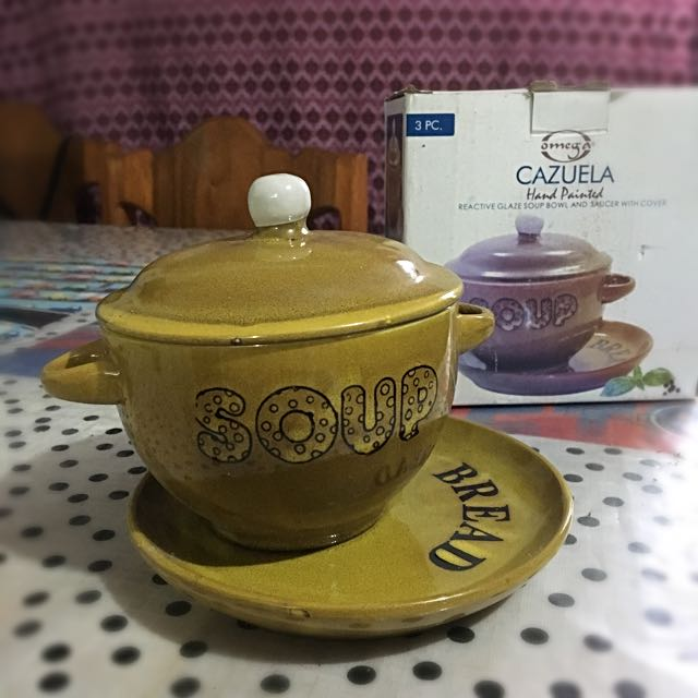 Hand Painted Soup Bowl With Saucer and Cover